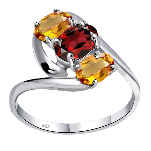 Orchid Jewelry 1.60 Carat Garnet & Citrine 925 Sterling Silver 3 Stone Ring