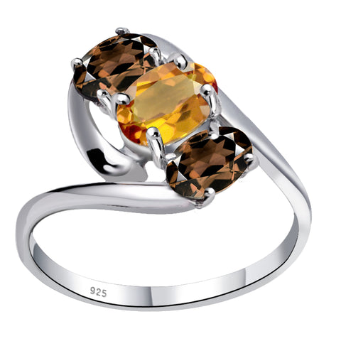 Orchid Jewelry 1.60 Carat Citrine & Smoky Quartz 925 Sterling Silver 3-Stone Ring