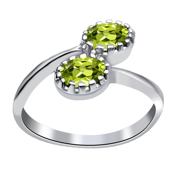 Orchid Jewelry 0.90 Carat Peridot 925 Sterling Silver Prong Sett Enagement Ring