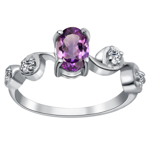 Orchid Jewelry 0.90 Carat Amethyst & White Topaz Sterling Silver Wedding Ring