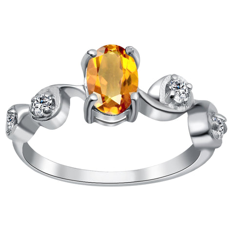 Orchid Jewelry 0.90 Carat Citrine & White Topaz Sterling Silver Wedding Ring