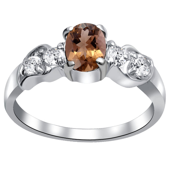 Orchid Jewelry 1.30 Carat Smoky Quartz & White Topaz 925 Sterling Silver Solitaire Ring