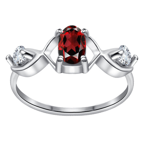 Orchid Jewelry 0.95 Carat Garnet & White Topaz 925 Sterling Silver Celtic Knot Ring