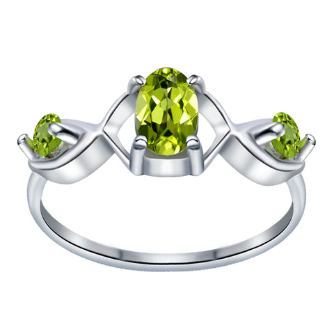 Orchid Jewelry 0.80 Carat Peridot 925 Sterling Silver Celtic Knot Ring