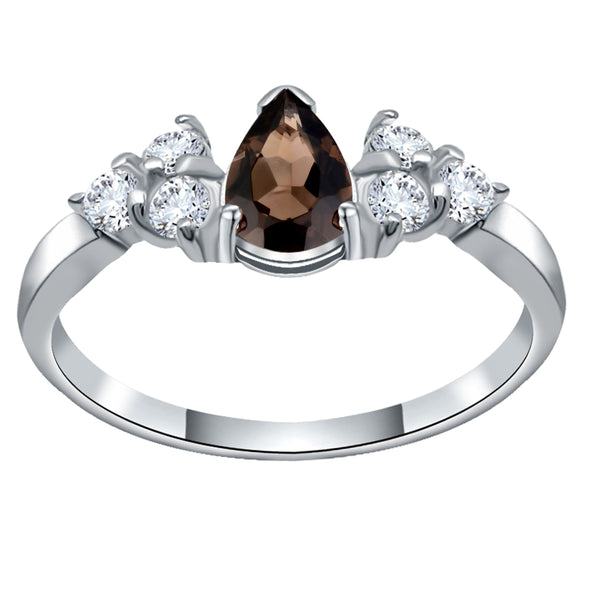 Orchid Jewelry Sterling Silver 1.20 Carat Smoky Quartz & White Topaz Bridal Ring