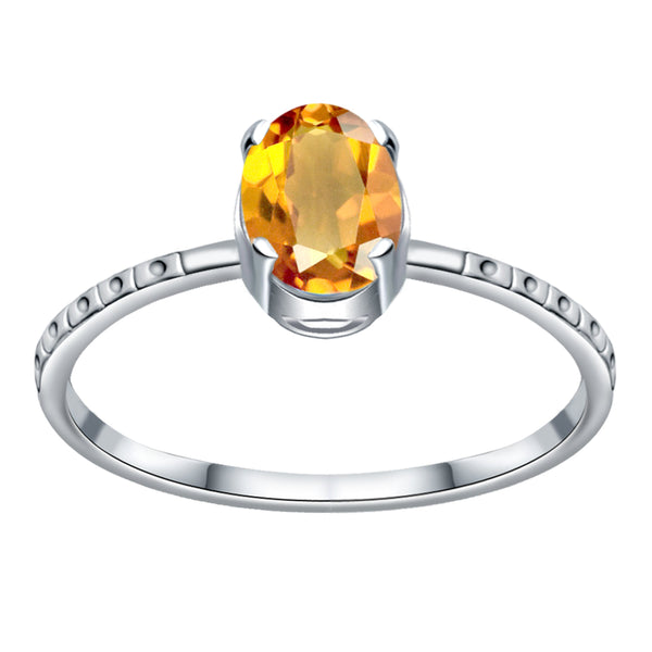 Orchid Jewelry 925 Sterling Silver 0.70 Carat Citrine Solitaire Ring