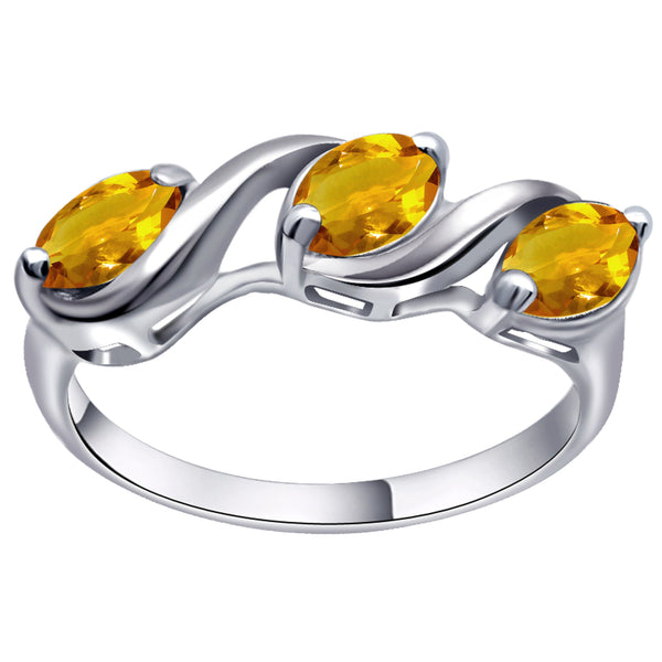 Orchid Jewelry 1.35 Carat Citrine 925 Sterling Silver 3 Stone Ring