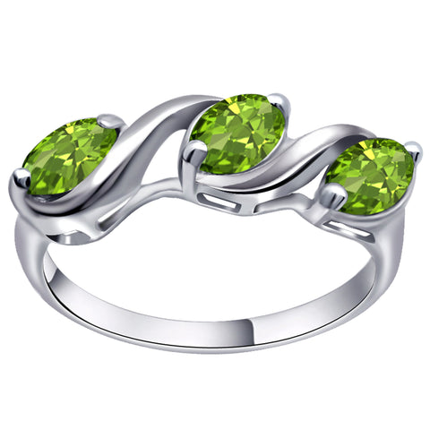 Orchid Jewelry 1.50 Carat Peridot 925 Sterling Silver 3 Stone Ring