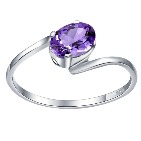 Orchid Jewelry 925 Sterling Silver 0.70 Carat Amethyst Twist Ring