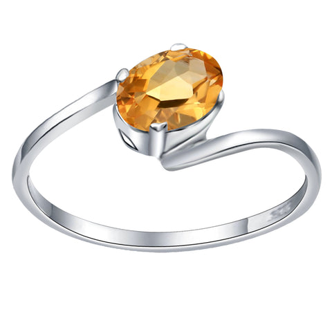 Orchid Jewelry 0.70 Carat Citrine 925 Sterling Silver Stylish Ring