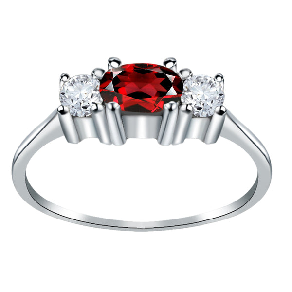 Orchid Jewelry 0.75 Carat Garnet & White Topaz 3 Stone 925 Sterling Silver Trellis Ring
