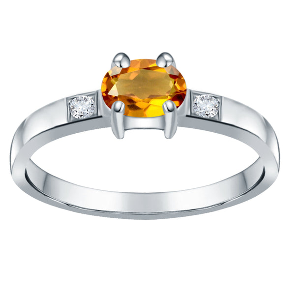 Orchid Jewelry 0.65 Carat Citrine & White Topaz 925 Sterling Silver Ring