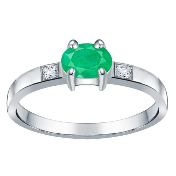 Orchid Jewelry 0.55 Carat Emerald & White Topaz 925 Sterling Silver Ring
