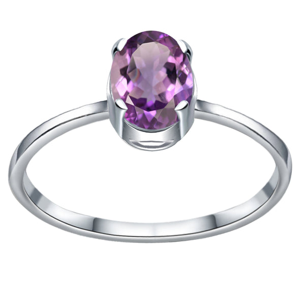 Orchid Jewelry 0.75 Carat Genuine Purple Amethyst Oval Sterling Silver Solitaire Engagement Ring