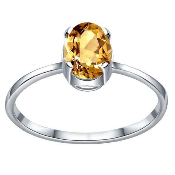 Orchid Jewelry 0.75 Carat Genuine Citrine Oval Shape Sterling Silver Solitaire Engagement Ring