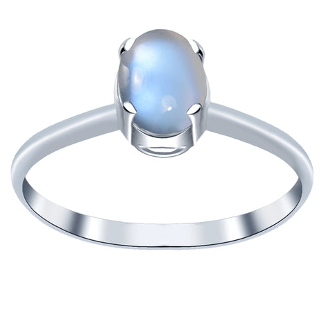 Orchid Jewelry 1.10 Carat Grey Moonstone Oval Shape Sterling Silver Solitaire Cabochon Ring