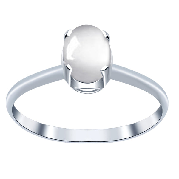 Orchid Jewelry 1.10 Carat White Moonstone Oval Shape Sterling Silver Solitaire Cabochon Ring