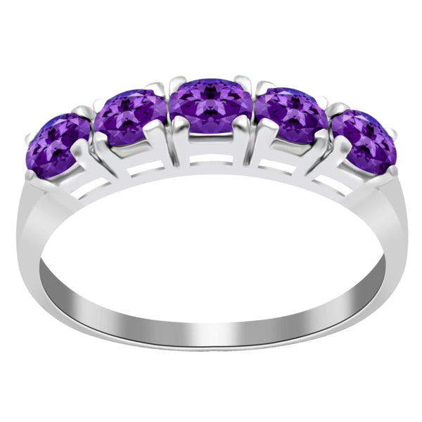Orchid Jewelry Sterling Silver 0.70 Carat Oval Sleeping Beauty Amethyst 5-Stone Band Ring