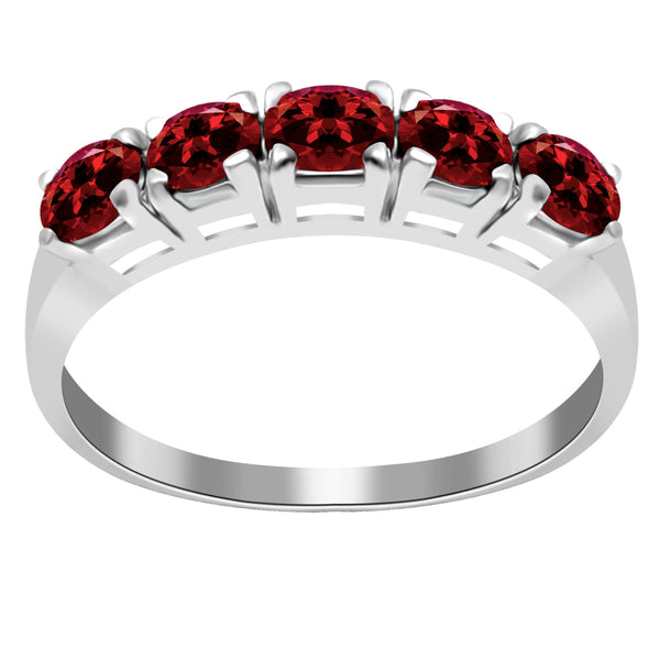 Orchid Jewelry 1.10 Carat Oval 5-Stone Sleeping Beauty Garnet Sterling Silver Band Ring