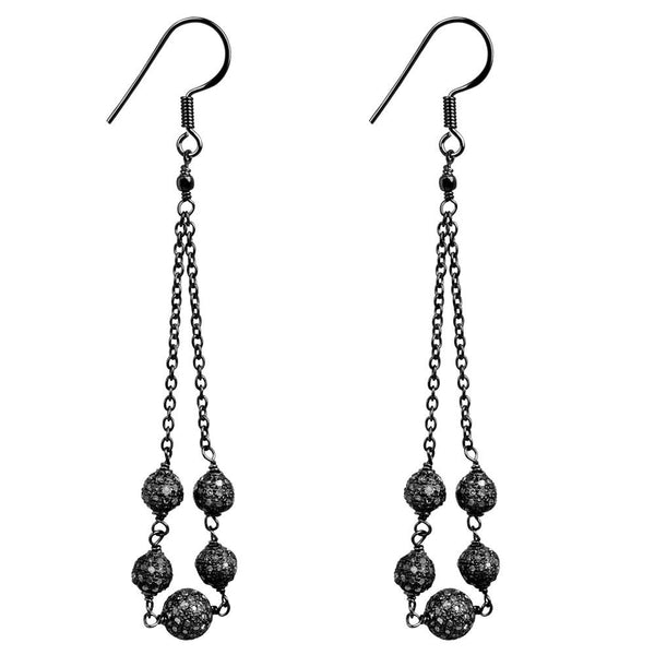 Jeweltique Designs 925 Sterling Silver 2.50 Carat Diamond Dangle Earrings