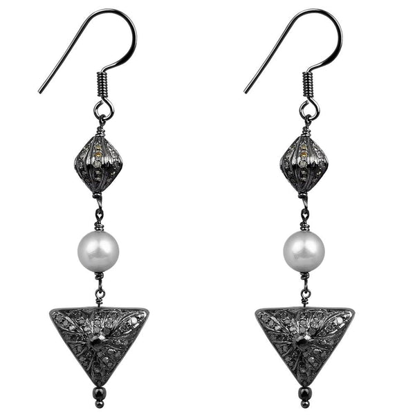Jeweltique Designs 925 Sterling Silver 4.70 Carat Diamond & Pearl Earrings
