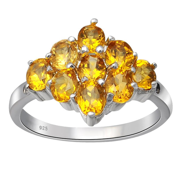 Orchid Jewelry Sterling Silver 1.37 CTW Citrine & Aquamarine Cluster Wedding Ring