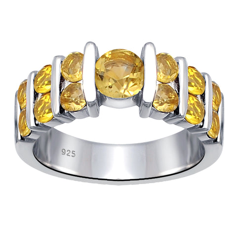 1.65 Ct. Citrine Solid 925 Sterling Silver November Birthstone Ring