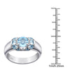Orchid Jewelry 925 Sterling Silver 2.30 CTW Blue Topaz Prong Setting Halo Ring