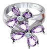 Orchid Jewelry Blossom Floral Design With Precious Gemstones 925 Sterling Silver Flower Ring