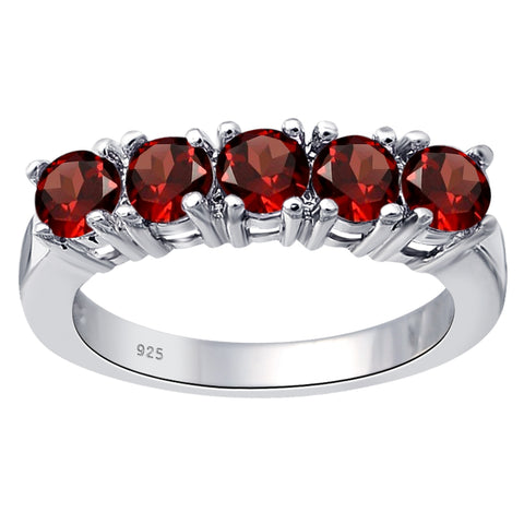 1.50 Cts. Garnet Sterling Silver Stackable Band Ring