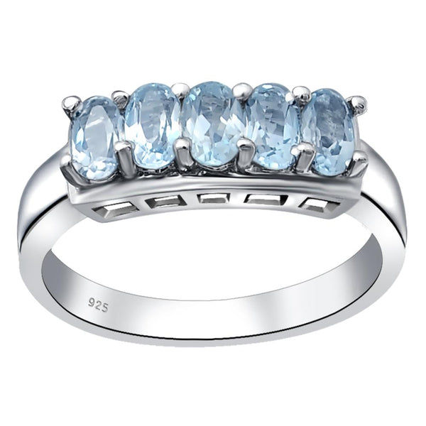 Orchid Jewelry Sterling Silver 5 Stone Oval Wedding Band Ring with Blue Topaz, Peridot & Emerald