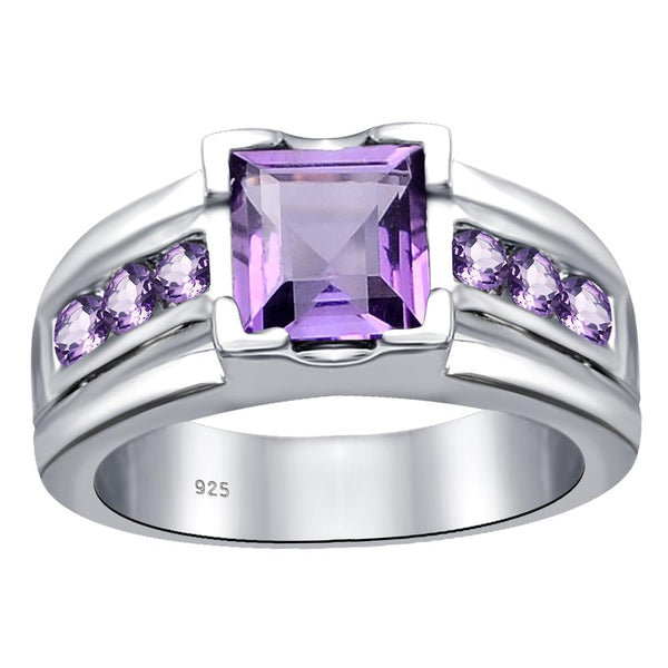 Orchid Jewelry Sterling Silver Stunning Princess Cut Square & Channel Set  Side Stones Ring in Amethyst, Citrine, Garnet & Citrine