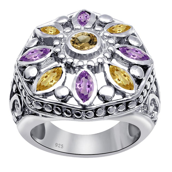 Orchid Jewelry Vintage Style Colorful Gemstone Marquise Shaped Floral Ring With Amethyst & Citrine