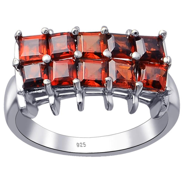 Orchid Jewelry 925 Sterling Silver 2.20 Carat Genuine Garnet Square Cluster Ring