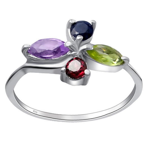 Orchid Jewelry Sterling Silver Women Fashion Cocktail Statement Ring With Multi Semi Precious  Stones