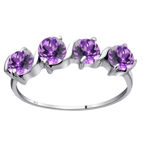 Orchid Jewelry 925 Sterling Silver 1.20 Carat Five Stone Ring with Amethyst, Garnet, Emerald, Sapphire & Multi Stone