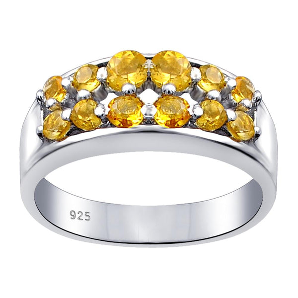 Orchid Jewelry Sterling Silver 1.64 Ct. Citrine, Peridot & White Topaz Anniversary Band Ring