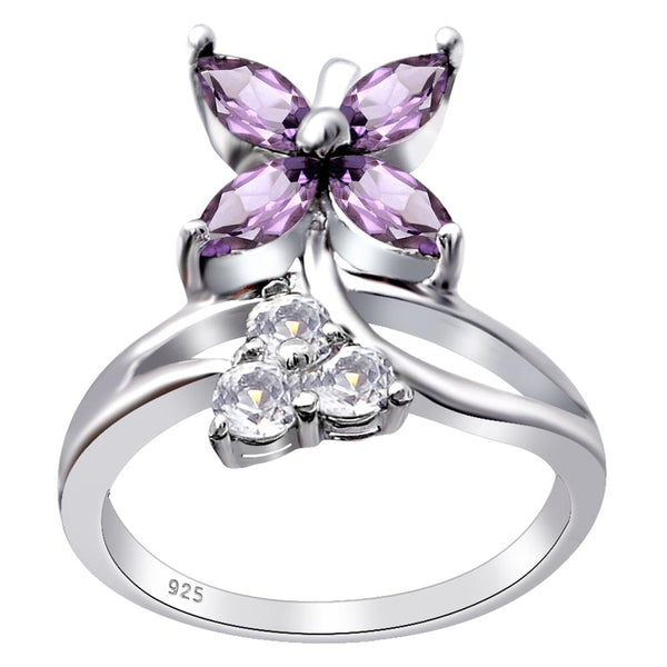 Orchid Jewelry 925 Sterling Silver 1.50 Ctw Floral Marquise Cut Engagement Rings with Natural Amethyst & White Topaz, Garnet & Amethyst