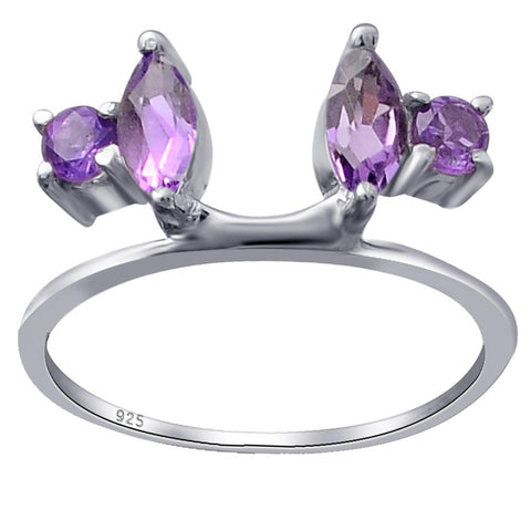 Orchid Jewelry 925 Sterling Silver Thin Shank Engagement Rings with Amethyst, Garnet, Citrine & Multi Stones