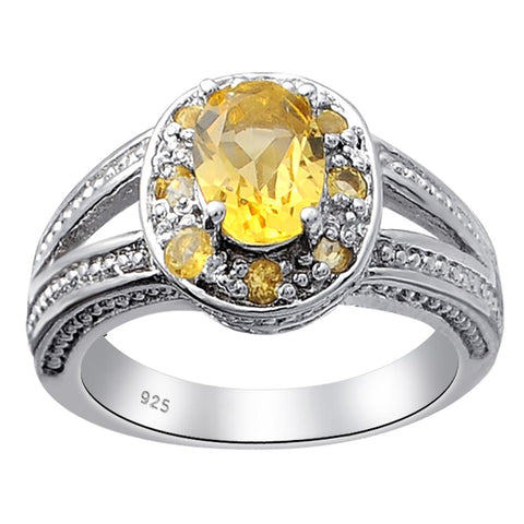 Orchid Jewelry Sterling Silver 1.5 Ct. Citrine, Ruby & White Topaz, Garnet & Peridot Halo Engagement Ring
