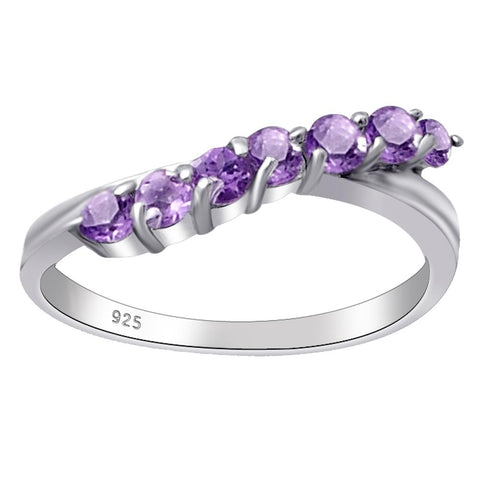 Orchid Jewelry 0.70 ctw Amethyst, Peridot, Citrine 7- Stone Sterling Silver Engagement Ring