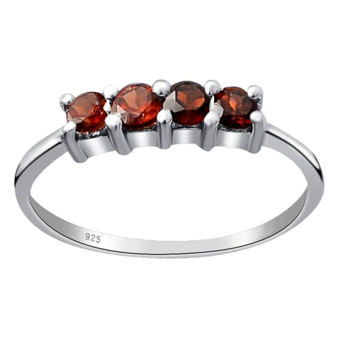 Orchid Jewelry 925 Sterling Silver 0.6 Ct. Garnet, Peridot, Multi Stones Wedding Band Ring