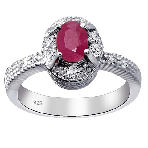 Orchid Jewelry 925 Sterling Silver 1.36 Ct. Ruby & White Topaz Halo Engagement Ring