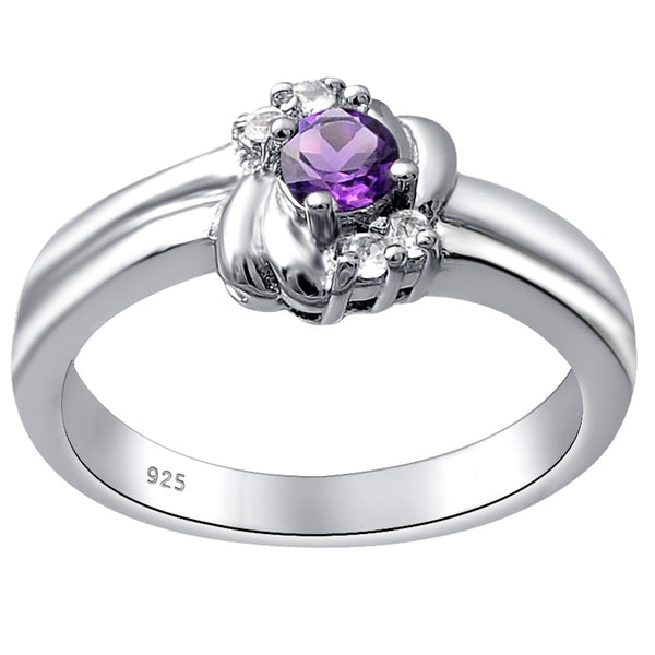 Orchid Jewelry Sterling Silver Gemstone Solitaire Ring in Amethyst, Blue Topaz, Citrine, Garnet, Peridot, Ruby, Sapphire, Emerald, Aquamarine, White Topaz