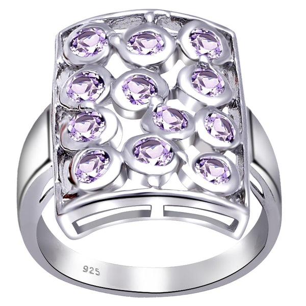 Orchid Jewelry 925 Sterling Silver Square Cluster Halo Ring With Amethyst & Emerald Gemstones