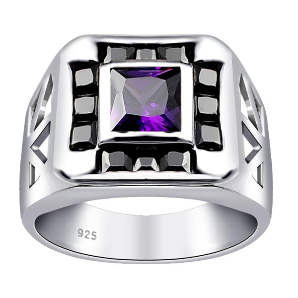 Orchid Jewelry 925 Sterling Silver Art Deco Vintage Ring  with Sapphire & Color Stone CZ