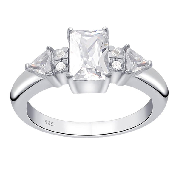 Orchid Jewelry 925 Sterling Silver 1.90 Ct. White Cubic Zirconia Fashion Engagement Ring