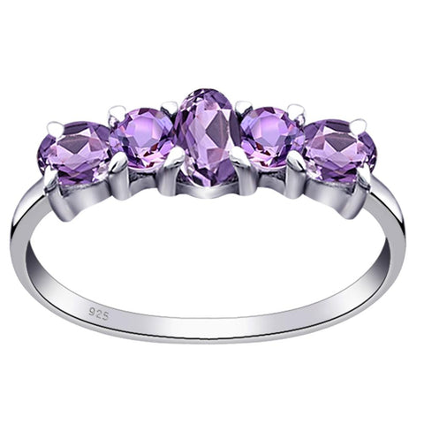 Orchid Jewelry 925 Sterling Silver Five Stone Wedding Anniversary Ring with Amethyst, Sapphire, Emerald, Garnet & Multi Stones