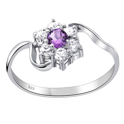 Orchid Jewelry 925 Sterling Silver 0.51 Ct. Amethyst & CZ Floral Engagement Ring