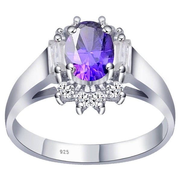 Orchid Jewelry 925 Sterling Silver 1.66 Ct Amethyst CZ, White CZ & Topaz Oval Engagement Ring